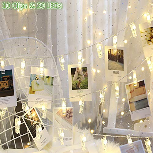 GHodec Photo Clip String Lights, Battery Powered 20 LEDs Fairy String Lights with 10-Clip for Hanging Pictures/Cards/Artwork/Photos/Memos/Party/Decor (Cold White) (Picture Hanging Clips)