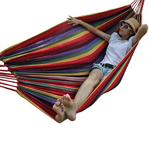 Hewolf Canvas Hammock Including 2 Professional Tree Straps Durable Cotton Antitear Rainbow Hammock Perfect for Indoor Outdoor Yard Garden Storage Carrying Bag For Sale