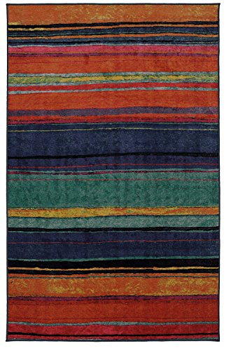 Mohawk Home New Wave Rainbow Kaleidoscope Striped Printed Area Rug, 7'6x10', Multicolor
