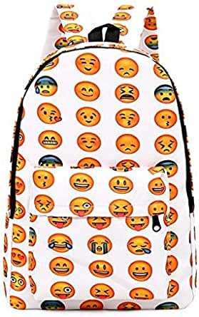 Emoji 3D Printing Casual and School Backpack For Unisex White