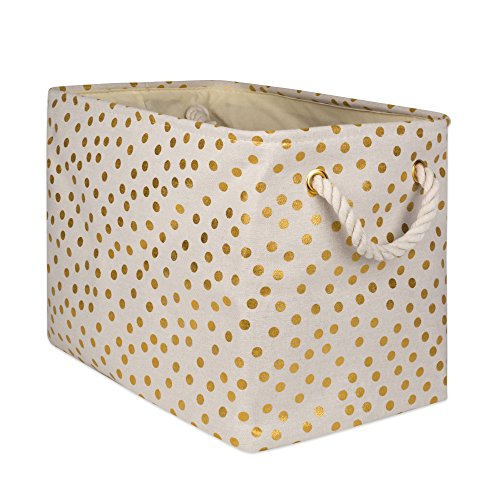 DII Collapsible Polyester Storage Basket or Bin with Durable Cotton Handles, Home Organizer Solution for Office, Bedroom, Closet, Toys, & Laundry (Large – 18x12x15), Gold Small Dots