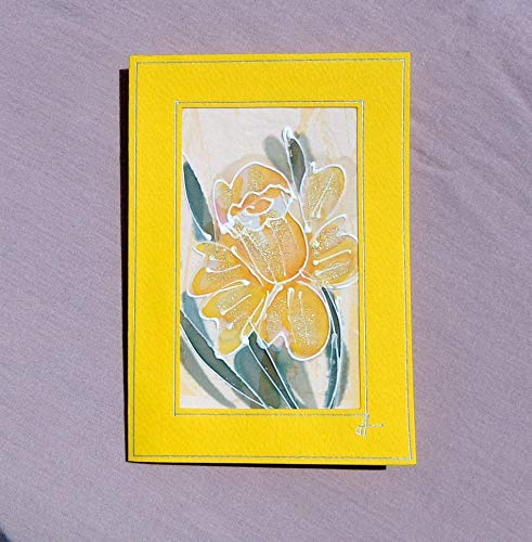 Daffodil Love,Yellow Daffodils card, Paintings on Silk-Batik, Personalised Daffodils Card, Daffodil Mother