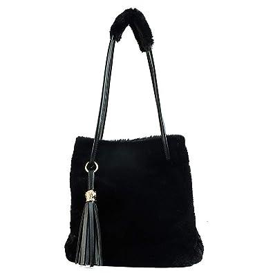 Amazon.com  Marchome Faux Fur Drawstring Bucket Bag for Women Large Satchel  Handbag Shoulder Bag with Tassel Black  Shoes 37e36f44fe87b