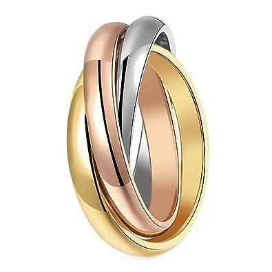 meilleur service 34a7f f5176 BOBIJOO Jewelry - Bague Femme 3 Anneaux Entrelacés Acier Plaqué Or Argent  Rose Mariage Alliance