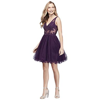 Davids Bridal Embroidered Sheer Fit-and-Flare Prom Dress with V-Back Style