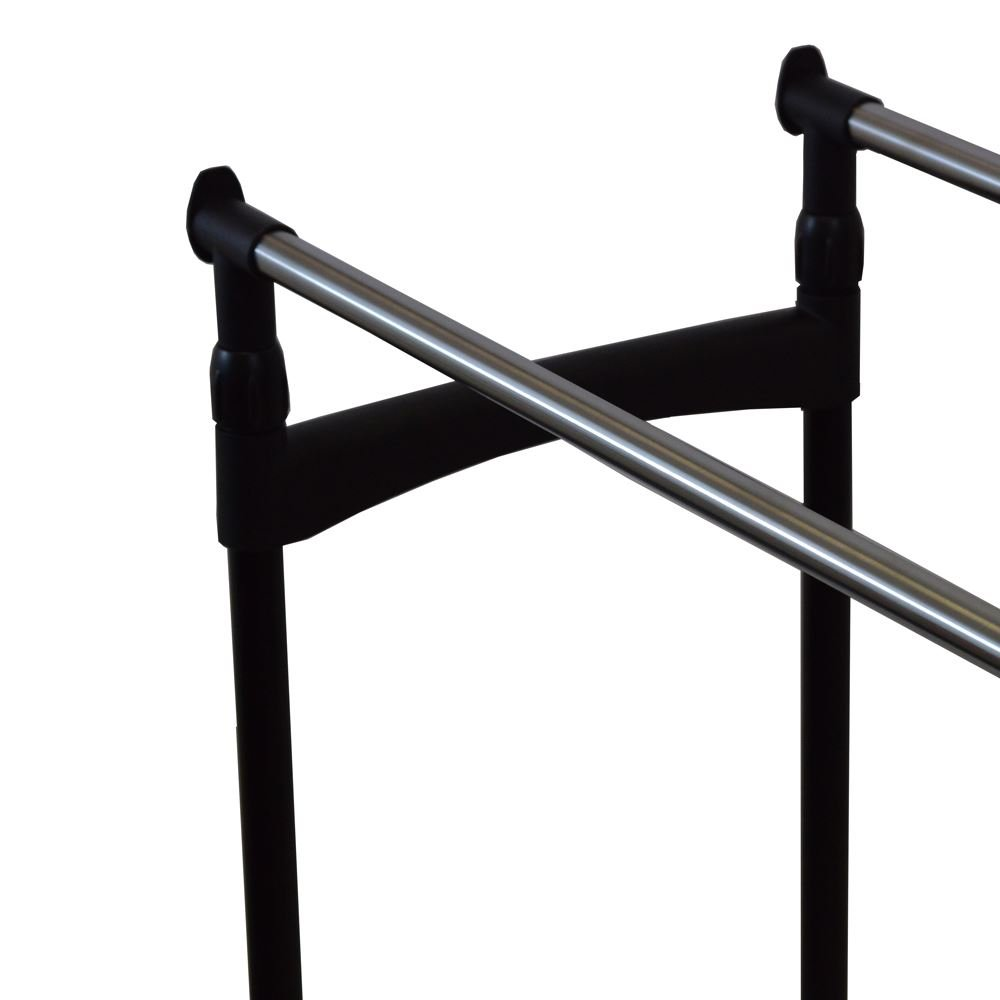 Home Discount® Double Garment Rack Adjustable Clothes Rail, Silver FREE DELIVERY