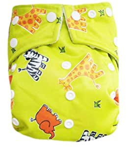 """Kawaii Baby Good Night Heavy Wetter One Size Pocket Cloth Diaper with 2 Large Microfiber Inserts """" Green Animal """""""