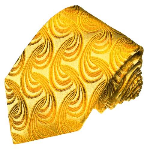 LORENZO CANA Luxury Italian 100% Pure Silk Tie Extra Long XXL Gold Paisley 8432999 (Extra Long Tie Gold Paisley)