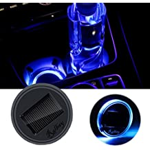 Ralbay Solar LED Cup Holder Lights Car Cup Holder Mat Pad Waterproof Bottle Drinks Coaster Built in Light and Vibration Sensor Car Interior Decoration Atmosphere Light (Blue,Pack of 1 pcs)