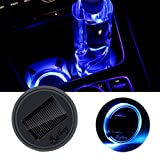 Ralbay Solar LED Car Cup Holder Mat Pad Waterproof with Light and Vibration Sensor Cup Coaster - USB Car Interior Decoration Atmosphere Light Drink Coaster for All Cars(Blue Pack of 1pc)