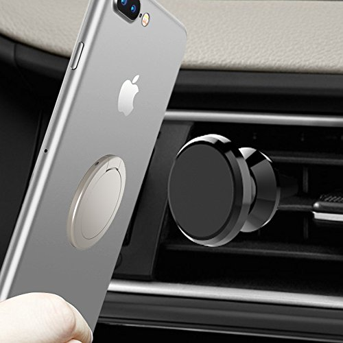 Magnet Finger (BACAMA Black Air Vent Car Cradle + Silver Circle Phone Ring Stand Holder Set, 360 Degree Rotating Zinc Alloy Kickstand for X/8/8Plus 7/7Plus 6/6s Plus, Galaxy, Sony, Huawei)