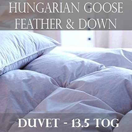 ea9d9f87fb7c Hungarian Goose 100% Luxury Feather and Down Duvet/Quilt- 13.5 Tog All Bed  Sizes (King): Amazon.co.uk: Kitchen & Home
