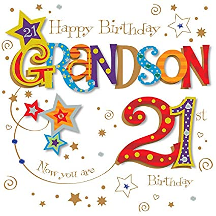 Amazon Grandson 21st Birthday Greeting Card By Talking