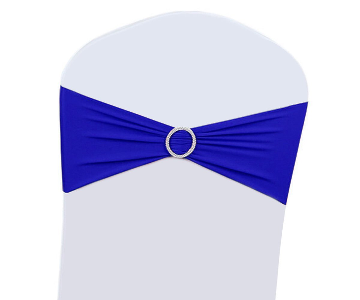 25/50/100PCS Wedding Chair Decorations Stretch Chair Bows and Sashes for Party Ceremony Reception Banquet Spandex Chair Covers slipcovers (50, Royal Blue)