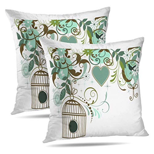 HAPPYOME Set of 2 Decorative Throw Pillow Covers Butterfly Bird Heart Home Sweet Sign Vintage Pretty Floral SpringPillow Case Cushion Cover for Bedroom Livingroom Sofa 18X18 Inches