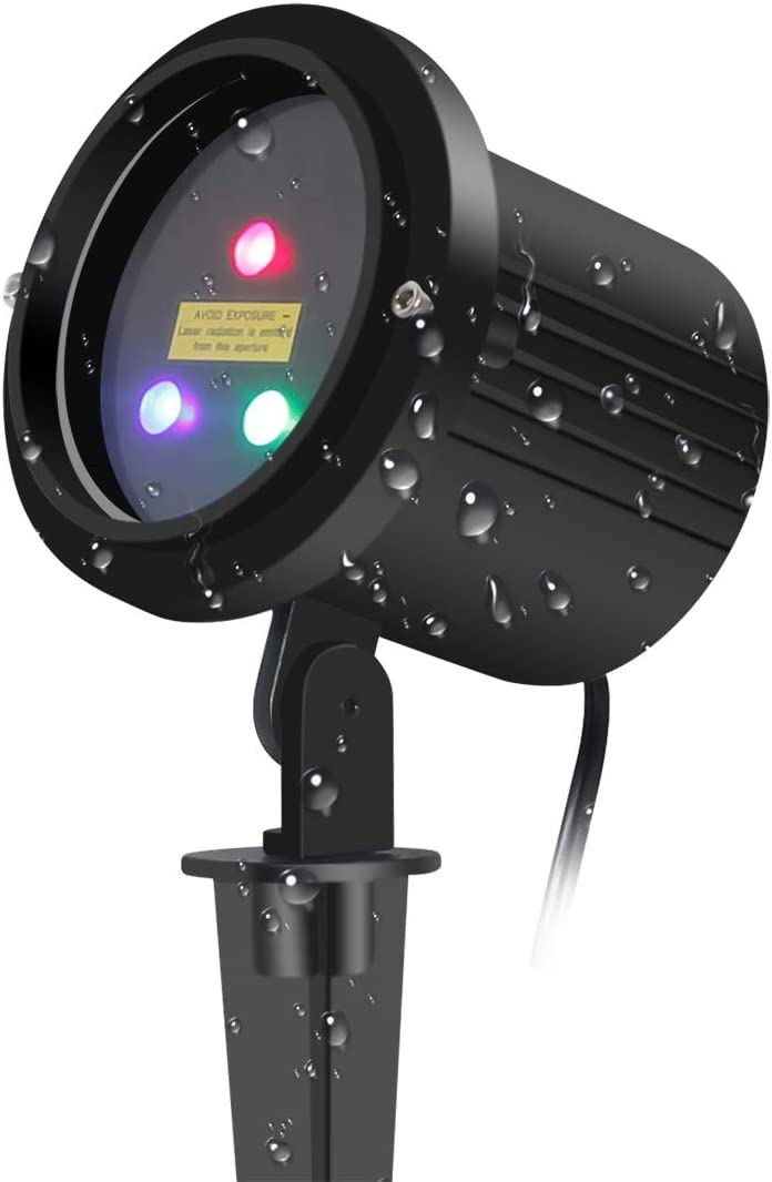 SUNYAO Three Color Motion Laser Christmas Lights Projector with RF Remote Control,Outdoor Garden Laser Lights Moving RGB Stars Show Projector for Christmas