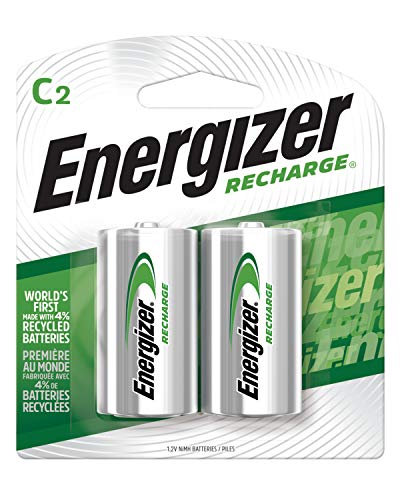 Energizer Rechargeable C Batteries, NiMH, 2500 mAh, Pre-Charged, 2 count (Recharge Universal)