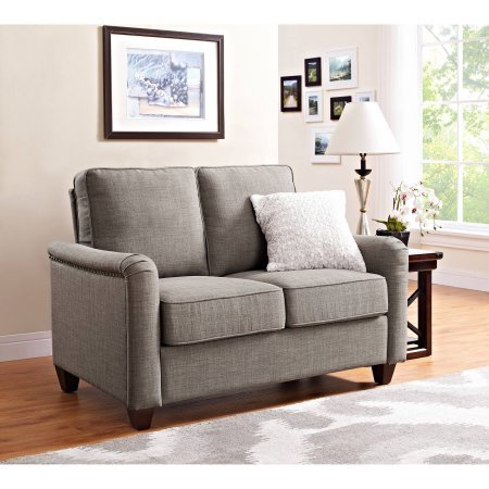 Better Homes and Gardens Grayson Loveseat with Nailheads, Grey