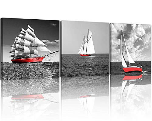 NAN Wind 3 Pcs Modern Giclee Canvas Prints Red Pirate Ship Black and White Wall Art Sailing Boat Marine Wall Decor Paintings on Canvas Stretched and Framed Ready to Hang for Home Decor