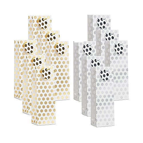 UNIQOOO 12 Pack Wine Bottle Bags Gift Bag Tote - Metallic Gold Silver Polka Dot, Cord Handle W/Note Tag -for Wine Lovers, Wedding, Bridal Shower, Birthday, Housewarming Party Xmas ()