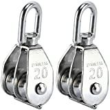 DasMarine 2 Pack Double Pulley Block in 304 Stainless Steel Crane Swivel Hook Double Pulley Roller Loading (M20)