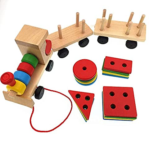 CECII Wooden Stacking Train With 20Pcs Colorful Matching Geometry Shape Blocks - Log Seven Drawer Dresser