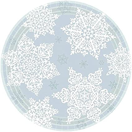 "Shining Season Snowflake Winter Christmas Holiday Party 9/"" Paper Dinner Plates"