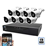 , Best Vision 16-Channel HD DVR Security System with 8 1MP IR Outdoor Weatherproof Bullet Cameras, 1TB Hard Drive and Remote Surveillance