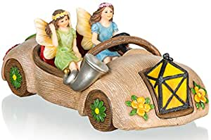 Joykick Fairy Garden Car Kit - Miniature Hand Painted Figurine Statues with Accessories - Set of 3pcs for Your House or Lawn Decor