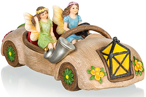Joykick Fairy Garden Car Kit - Miniature Hand Painted Figurine Statues with Accessories - Set of 3pcs for Your House or Lawn Decor for $<!--$36.90-->