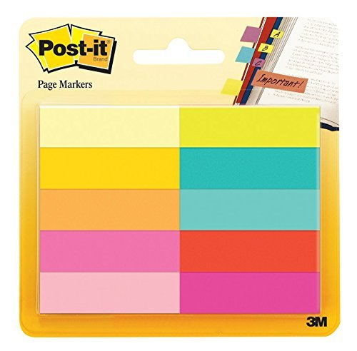0.5 Flags - Post-it Page Markers, Assorted Bright Colors, 1/2 x 2-Inches, 50-Markers/Pad, 10-Pads/Pack, 2-Pack