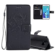 Galaxy S6 Edge Wallet Case Cover Embossed Flower Cat Wishing Tree Design Aeeque Shockproof Folio Flip Phone Cases Slim Fit Bumper Full Protection Cover Case for Samsung Galaxy S6 Edge, Black