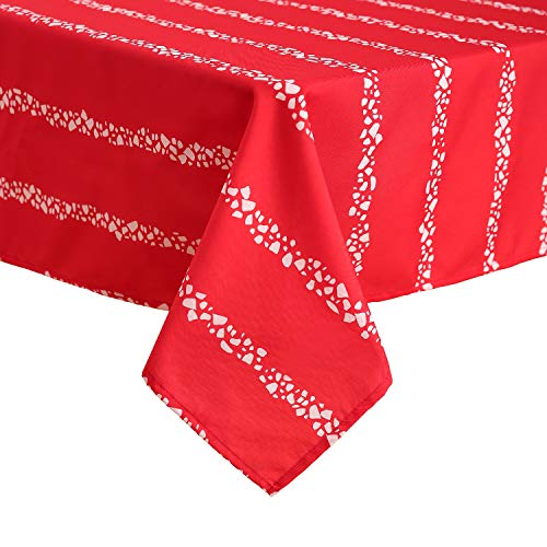 Deconovo Christmas Tablecloth Printed Water Resistant Wrinkle Free Square Tablecloth for Rectangle Dining Table 54x72 Inch Red and White