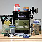 ManBuckets OUTDOORSMAN Bucket - Outdoor Gear and Grub Packed In A Manly Five Gallon Steel Paint Bucket. It's A Gift Basket for Real Men. He'll Love Prying It Open With His Own ManBuckets Screwdriver