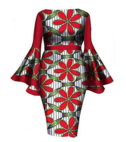 Women Dresses for Wedding Guest Comfortable and Imported air Layer Fabric Round Neck,Long Horn Sleeve midi Waist,Casual Elegant Style Dresses (Red Printing XL) -