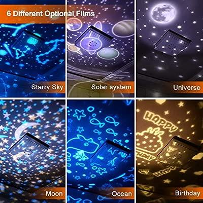 Lampara Proyector Estrellas Infantil, 360° Rotación, 6 Efectos de Luz, Lámpara Proyector Luz de Nocturna para Niños, Dormitorio, Cumpleaños, Luz de ...
