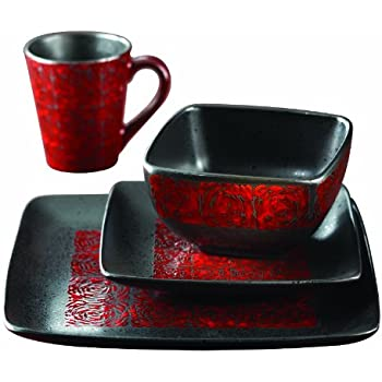 American Atelier Yardley 16-Piece Dinnerware Set Red  sc 1 st  Amazon.com & Amazon.com | Gibson 16-Piece Dinnerware Set Evening Blossom Black ...