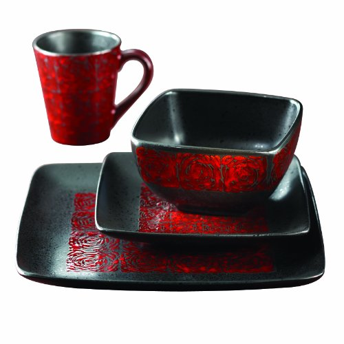 (American Atelier 5906-16-RB Yardley 16 Piece Square Dinnerware Set Red)