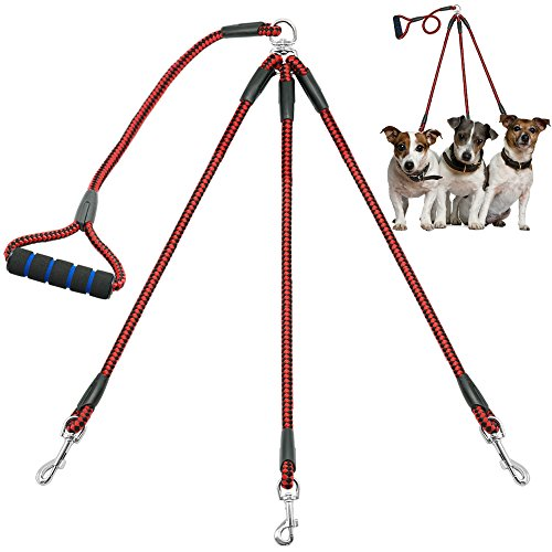 Didog 3 Way Dog Coupler Leash with Sponge Handle,Heavy Duty Sturdy Dog Leashes for Walking Puppy Small Medium Dogs by Didog