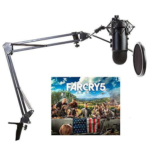 Blue Yeti Microphone (Blackout) with Far Cry 5 Bundle with Knox Gear Boom Arm, Pop Filter and Shock Mount