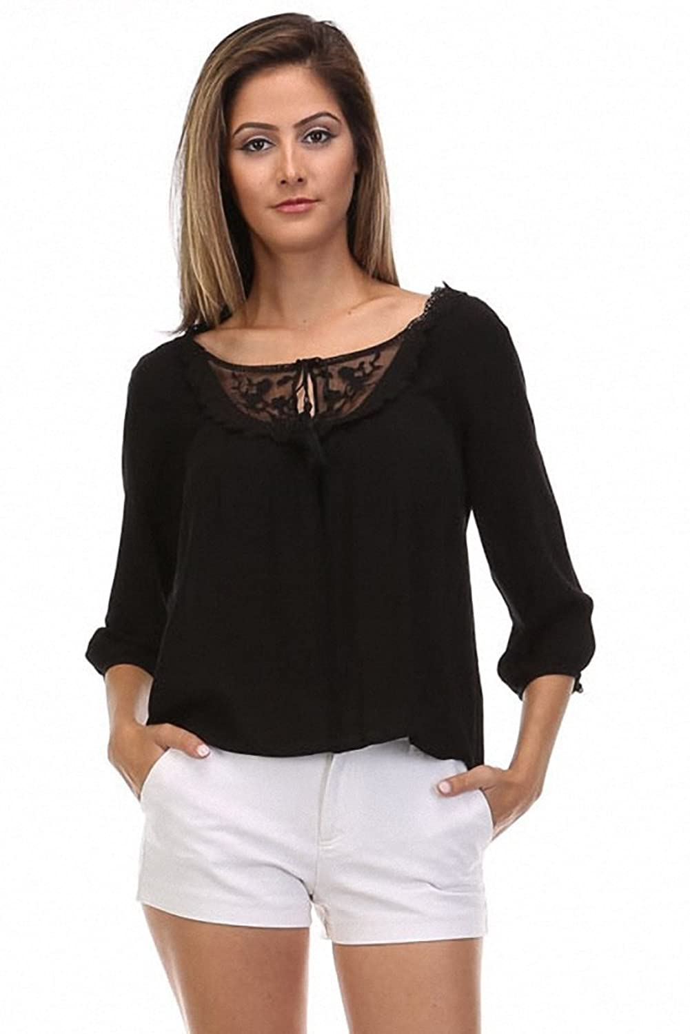 Fashion Hub Women's Neckline Detail 3/4 Sleeve Top