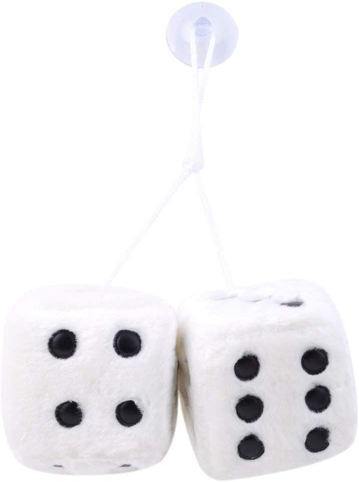 Fliyeong Fluffy Dice Hanging Plush Dice Cube with Suctions for Car Interior Ornament Decoration White Convenient and Practical