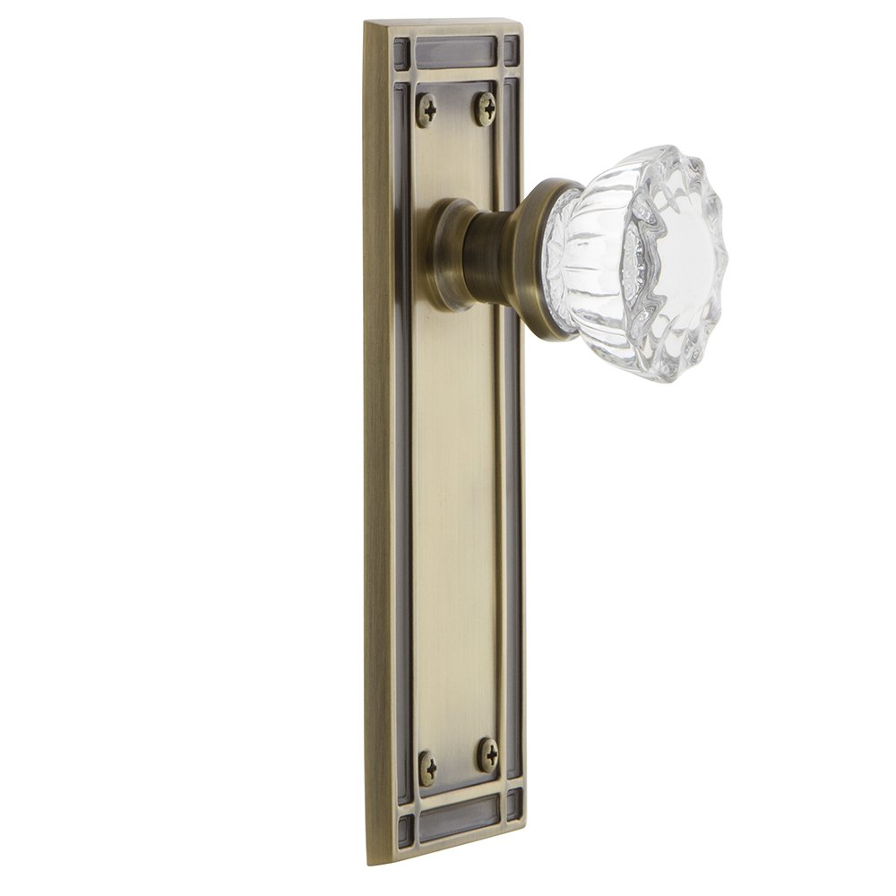 2.375 716192 Nostalgic Warehouse Mission Plate with Crystal Glass Knob Privacy Oil-Rubbed Bronze Privacy 2.375