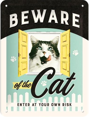 15/x 20/cm Nostalgic-Art 26208/Animal Club Beware of The Cat Plaque de
