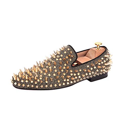 Men's Long Gold Rivet Fashion Stress Shoes Wedding Party Slip on Flats Gold US size 11 by OCHENTA