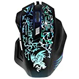 BEBONCOOL Wired Optical Gaming Mouse Game Mouse for PC, 6 Buttons, Adjustable DPI 800 1200 1600 2400 with 6 Lighting Color