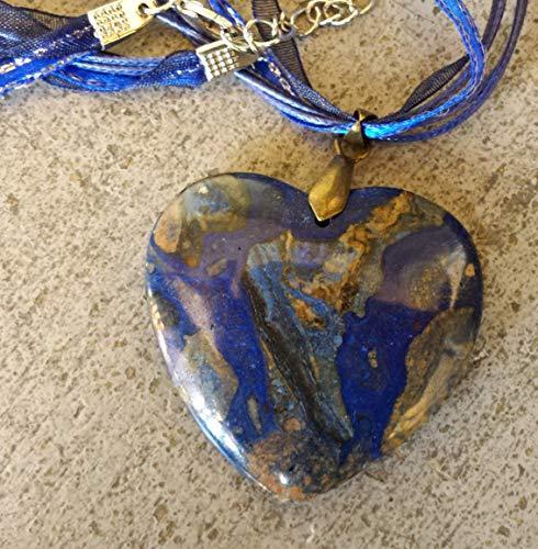 Deep Blue Sea Sediment Jasper Heart Pendant Necklace with Blue Satin & Taffeta Ribbon Neck Cord- 18