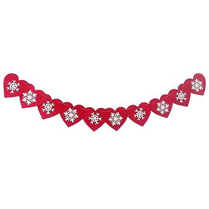 Tinksky Guirnalda Corazones Banderines Boda Decoracion Navidad Copos de Nieve Adornos Navideños