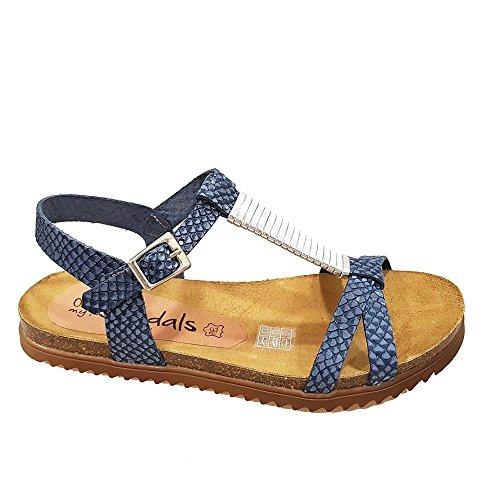Sandalia piel marino grabada tiras cruzada. Talla 38