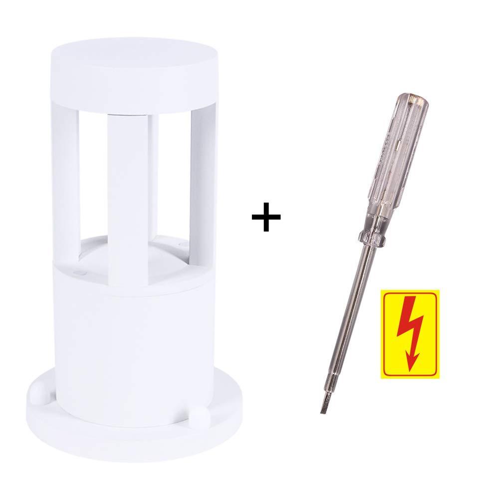 Warmweissen LED-Leuchtmittel Leuchte inkl IP65 wasserfest Sockelleuchte gratis Spannungspr/üfer LED-Pollerleuchte 25cm H/öhe schwarz Alu Au/ßenleuchte 10W 450lm